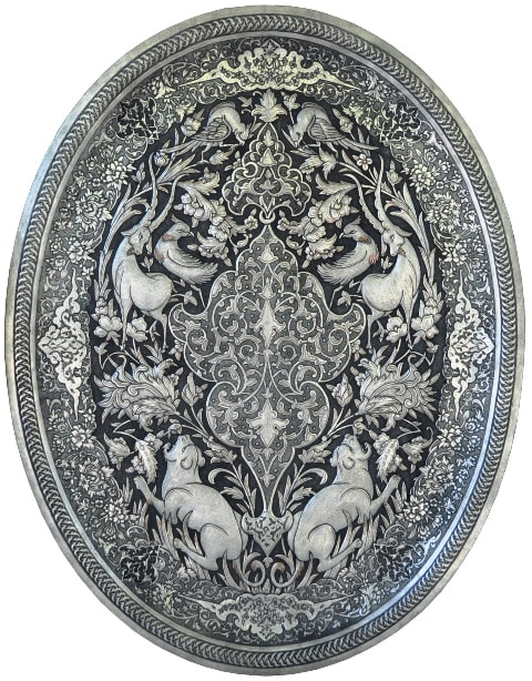 Persian silver on copper oval tray with Ghalamzani engravings of birds and animals