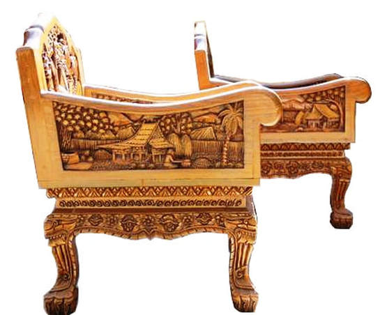 Pair of vintage teak wood chairs with 3D relief carvings from Thailand