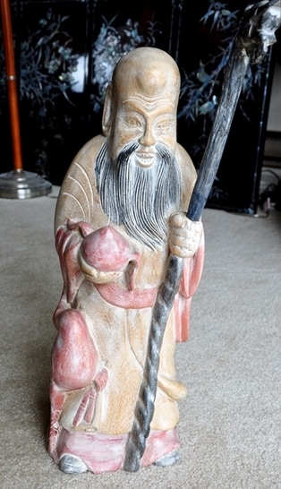 Wood carved statue of Chinese Tao God of longevity Shou Lao