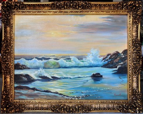 Seascape oil painting by Russell in a very ornate frame