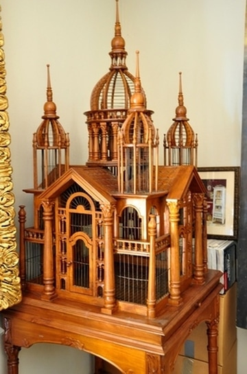Monumental Victorian style wooden bird cage on a stand