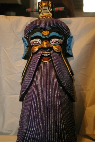 Exotic Japanese wood carved mask with nice colors