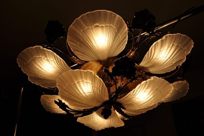 Murano glass petal and brass leaf design chandelier