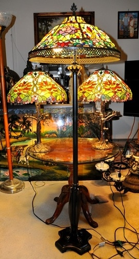 Set of Tiffany style table and floor lamps with floral shades and bronze bases