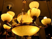 Huge 2-tier, 15 light, Art Deco style gilt chandelier with alabaster shades