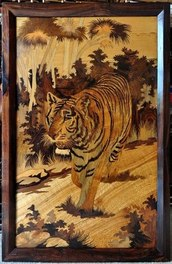 Rosewood inlay art from India depicting a tiger in the forest