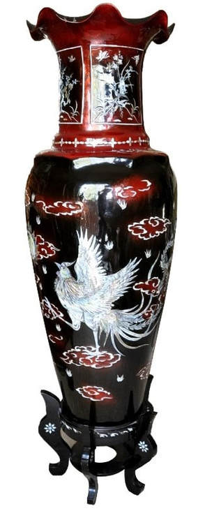 Large Vietnamese lacquer vase with mother of pearl inlay artwork