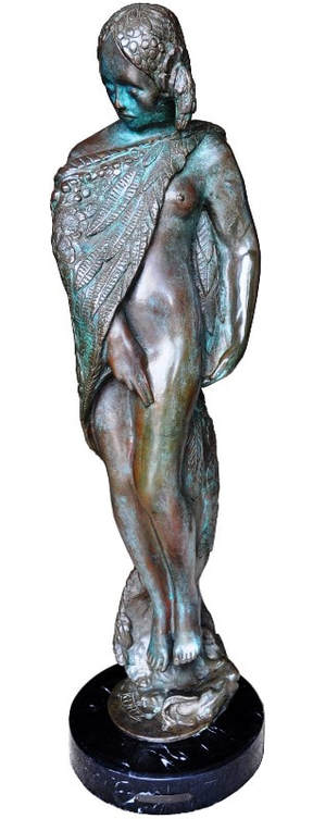 Solid bronze Art Nouveau sculpture titled Cloak of Flowers by Benjamin Turner Kurtz