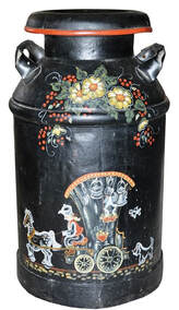 Old milk can with original oil painting of a horse drawn buggy