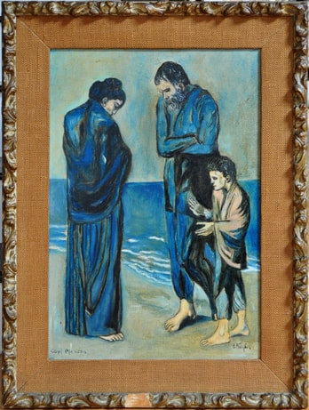 Hand painted reproduction of The Tragedy by Pablo Picasso