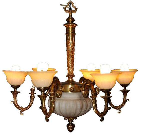 French Empire style 6 light gilt bronze chandelier with alabaster shades
