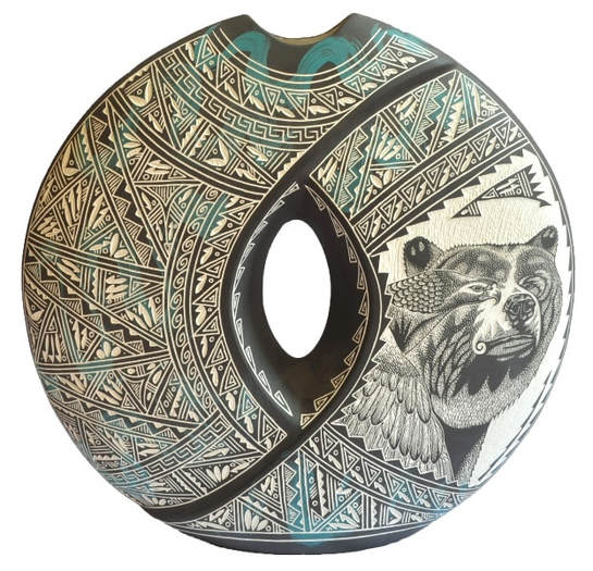 Large hand etched Acoma pillow vase by R. N. K. Sanchez depicting an eagle and a bear​