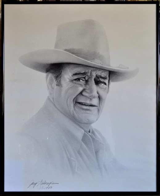 Framed print of 1988 charcoal drawing of John Wayne by Gary Saderup