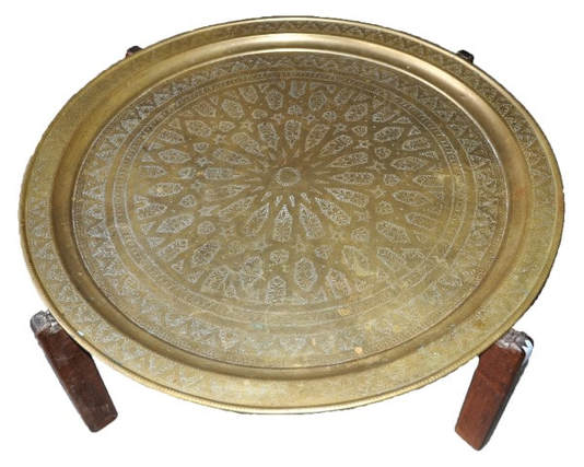 Large Middle-Eastern round engraved brass tray top coffee table