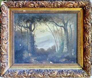 19th century landscape oil painting in an ornate frame