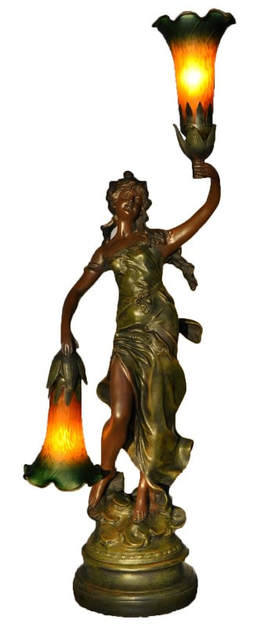 Art Nouveau style figural lamp of a lady holding tulip shades