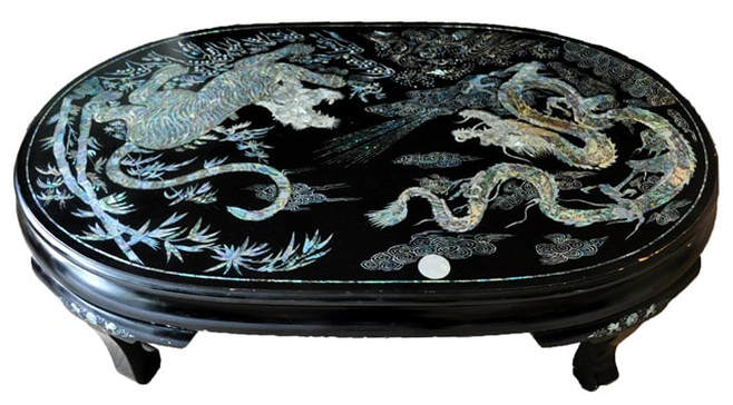Vintage Korean mother of pearl inlay lacquer table with tiger and dragon