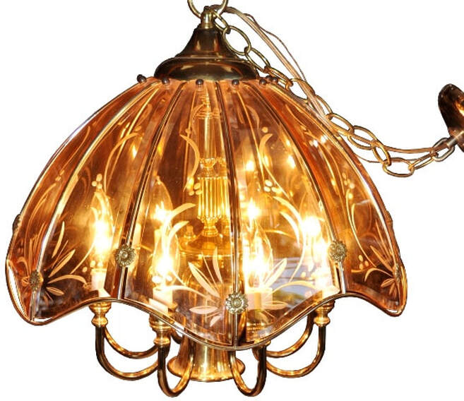 Vintage Fredrick Ramond chandelier with beveled carved glass panels