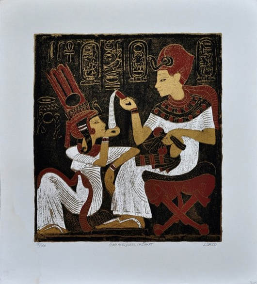 Egyptian themed serigraph titled King and Queen of Egypt by L. Sacco