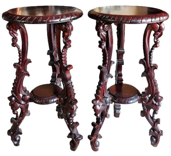 Pair of beautiful carved teak wood end tables from Indonesia