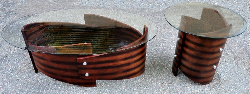 Glass top Art Deco style coffee and end tables with bases made of bent wood sections