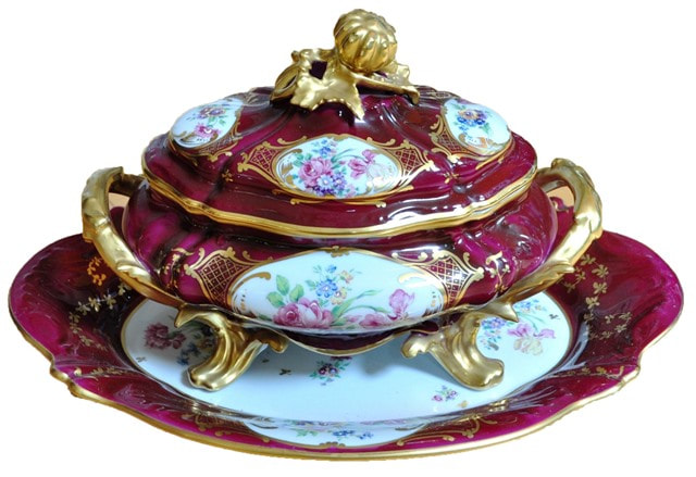 Limoges porcelain covered tureen and serving tray with floral accent