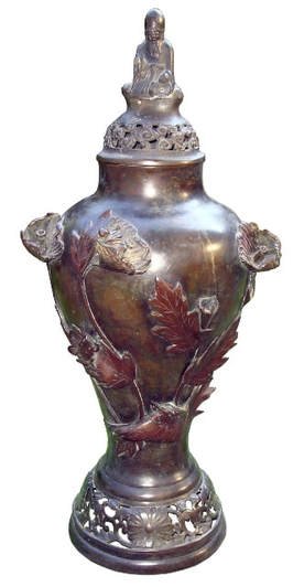19th century antique Japanese bronze vase with dragonfly and frog