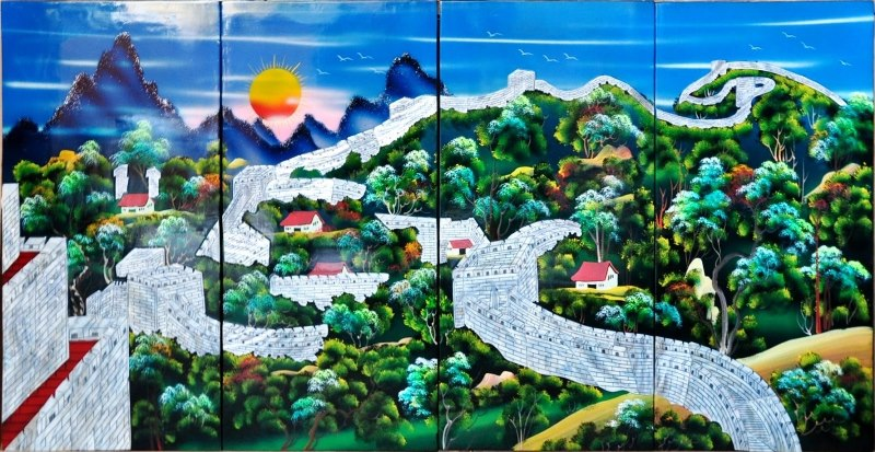 Set of 4 Vietnamese lacquer painting panels depicting the Great Wall of China